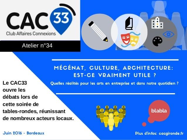 MÉCÉNAT, CULTURE, ARCHITECTURE: EST-CE VRAIMENT UTILE ? Ateliern°34 Quelles réalités pour les arts en entreprise et dans ...