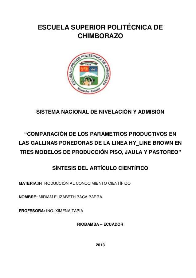 """ESCUELA SUPERIOR POLITÉCNICA DECHIMBORAZOSISTEMA NACIONAL DE NIVELACIÓN Y ADMISIÓN""""COMPARACIÓN DE LOS PARÁMETROS PRODUCTIV..."""