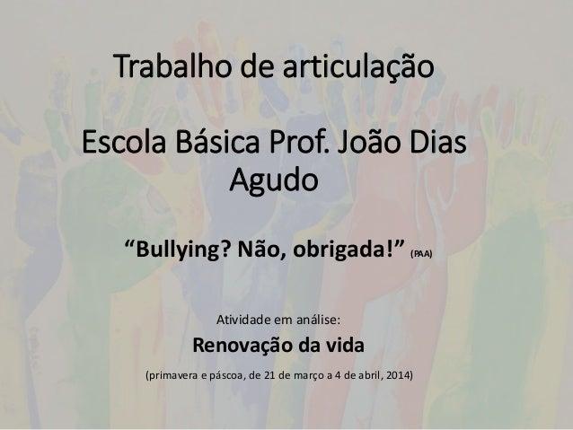 Trabalho de articulação Escola Básica Prof. João Dias Agudo Atividade em análise: Renovação da vida (primavera e páscoa, d...