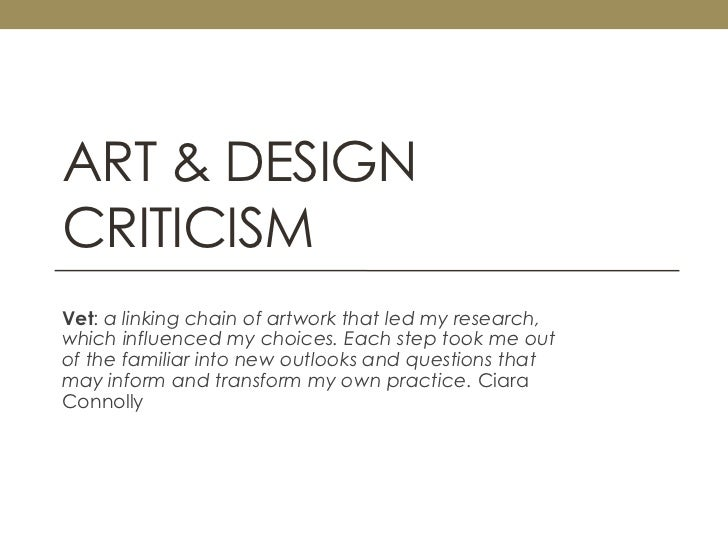 Art & Design Criticism<br />Vet: a linking chain of artwork that led my research, which influenced my choices. Each step t...