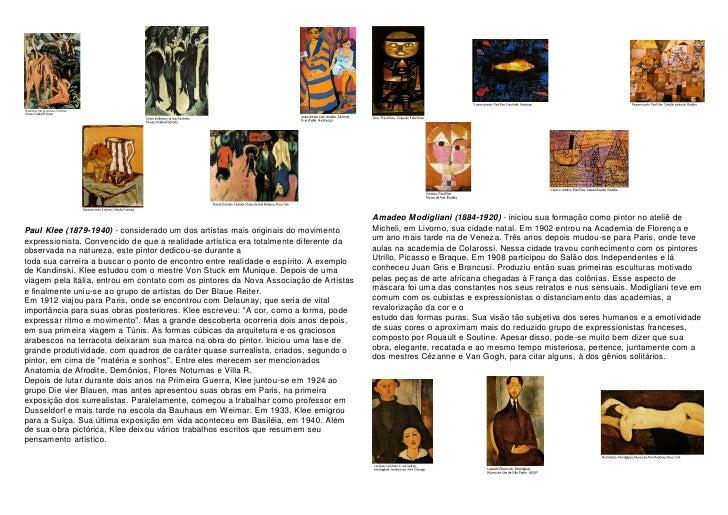 Amadeo Modigliani (1884-1920) - iniciou sua formação como pintor no ateliê de Paul Klee (1879-1940) - considerado um dos a...