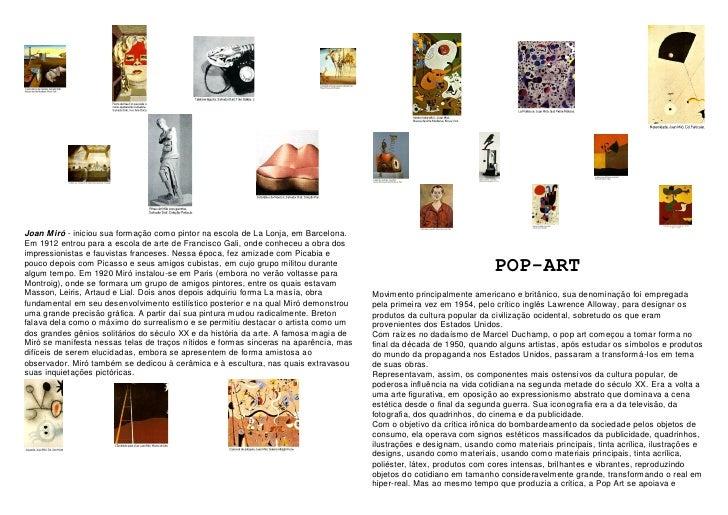 Joan Miró - iniciou sua formação como pintor na escola de La Lonja, em Barcelona. Em 1912 entrou para a escola de arte de ...