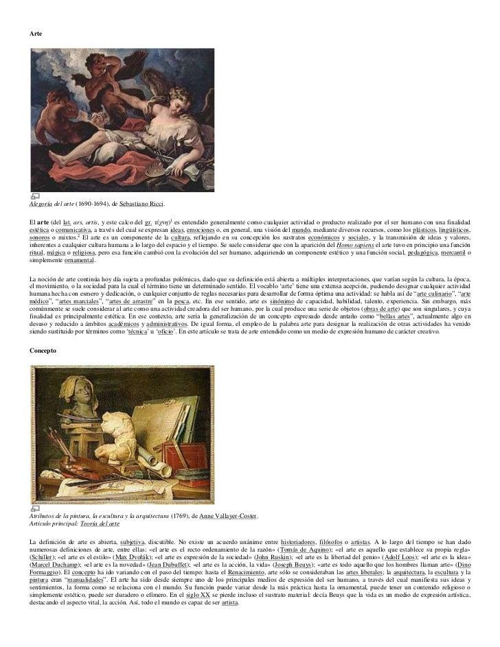 Arte<br />Alegoría del arte (1690-1694), de Sebastiano Ricci.<br />El arte (del lat. ars, artis, y este calco del gr. τέχν...