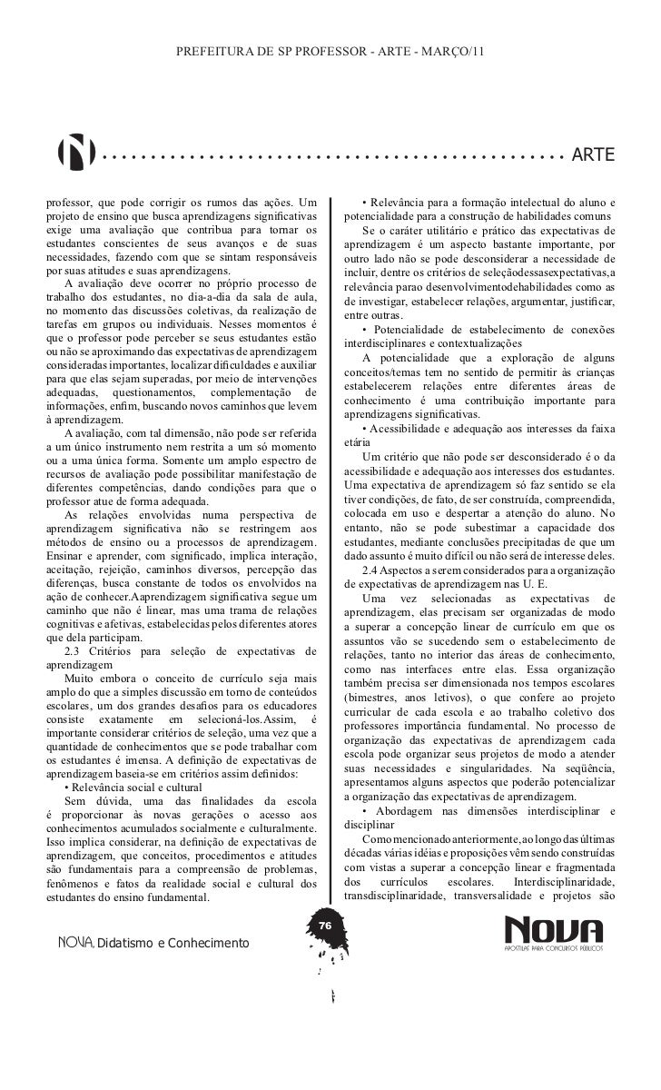 PREFEITURA DE SP PROFESSOR - ARTE - MARÇO/11                                                                              ...
