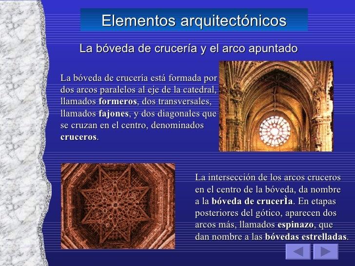 Elementos arquitectónicos La bóveda de crucería y el arco apuntado La bóveda de crucería está formada por dos arcos parale...