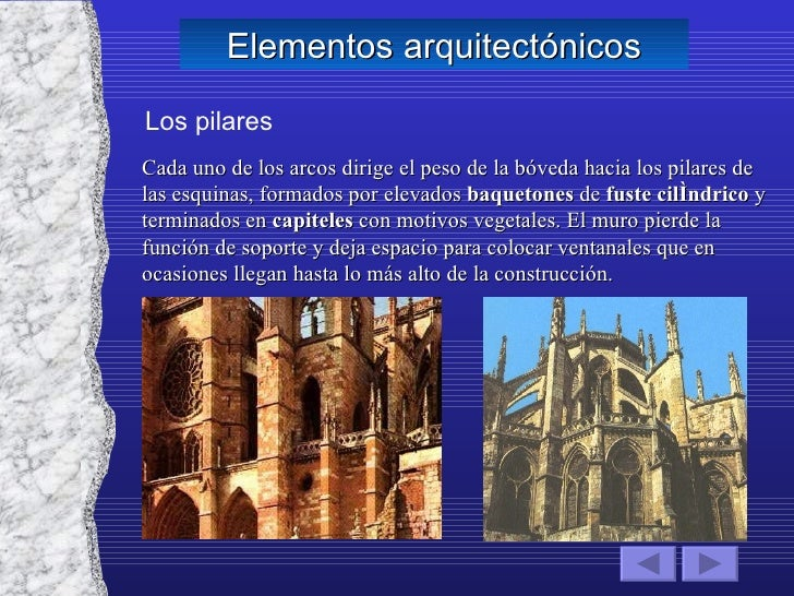 Elementos arquitectónicos Los pilares Cada uno de los arcos dirige el peso de la bóveda hacia los pilares de las esquinas,...
