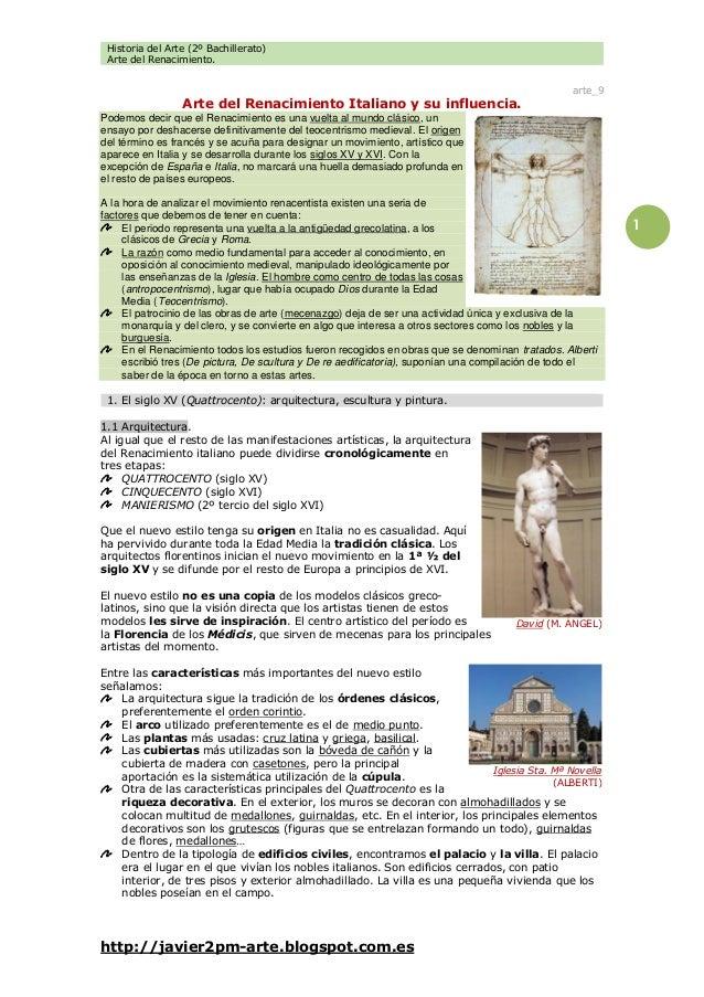 Historia del Arte (2º Bachillerato) Arte del Renacimiento. http://javier2pm-arte.blogspot.com.es 1 arte_9 Arte del Renacim...
