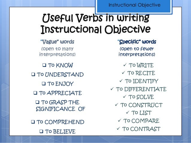 the characteristics of a well-written and useful instructional object…