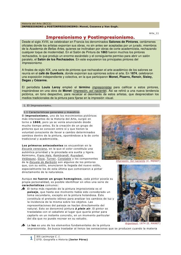 Historia del Arte (BCC2)IMPRESIONIMO y POSTIMPRESIONISMO: Monet, Cezanne y Van Gogh.                                      ...
