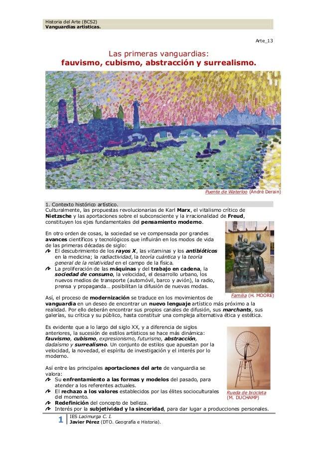Historia del Arte (BCS2) Vanguardias artísticas. Arte_13  Las primeras vanguardias: fauvismo, cubismo, abstracción y surre...