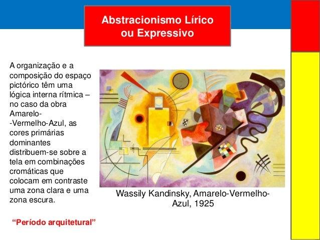 ARTE ABSTRATAAbstracionismo Líricoou ExpressivoWassily Kandinsky, Amarelo-Vermelho-Azul, 1925A organização e acomposição d...