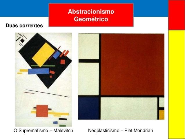 ARTE ABSTRATAAbstracionismoGeométricoDuas correntesO Suprematismo – Malevitch Neoplasticismo – Piet Mondrian