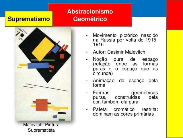 ARTE ABSTRATAAbstracionismoGeométricoMalevitch, PinturaSuprematista- Movimento pictórico nascidona Rússia por volta de 191...