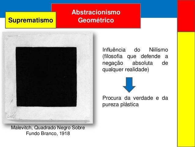 ARTE ABSTRATAAbstracionismoGeométricoMalevitch, Quadrado Negro SobreFundo Branco, 1918Influência do Niilismo(filosofia que...
