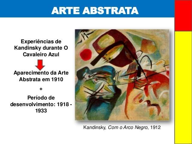 ARTE ABSTRATAExperiências deKandinsky durante OCavaleiro AzulAparecimento da ArteAbstrata em 1910+Período dedesenvolviment...