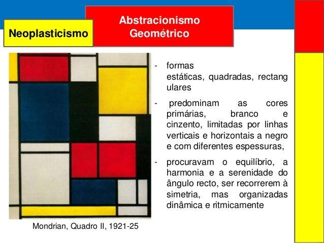 ARTE ABSTRATAAbstracionismoGeométricoMondrian, Quadro II, 1921-25- formasestáticas, quadradas, rectangulares- predominam a...