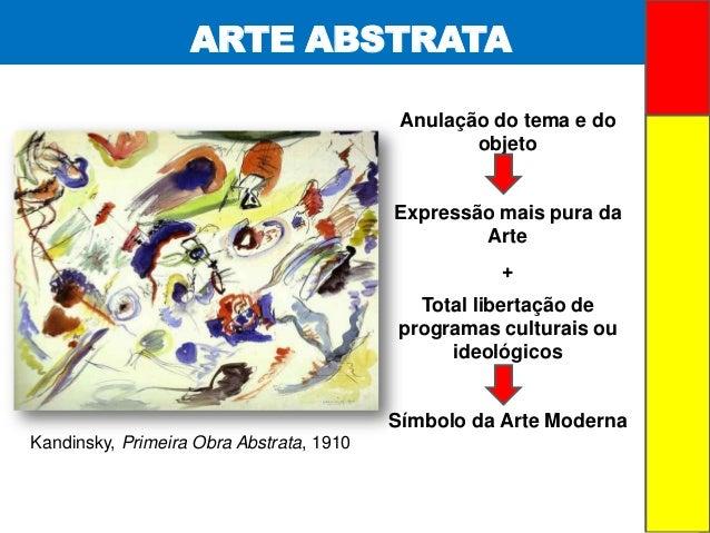 ARTE ABSTRATAAnulação do tema e doobjetoExpressão mais pura daArte+Total libertação deprogramas culturais ouideológicosSím...