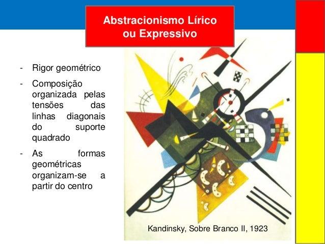 ARTE ABSTRATA- Rigor geométrico- Composiçãoorganizada pelastensões daslinhas diagonaisdo suportequadrado- As formasgeométr...