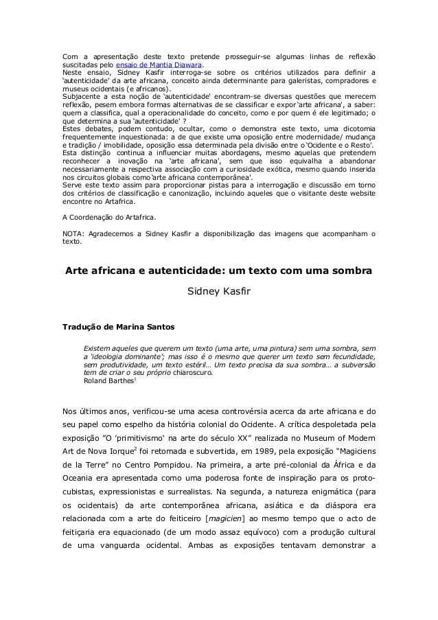 Com a apresentação deste texto pretende prosseguir-se algumas linhas de reflexãosuscitadas pelo ensaio de Mantia Diawara.N...