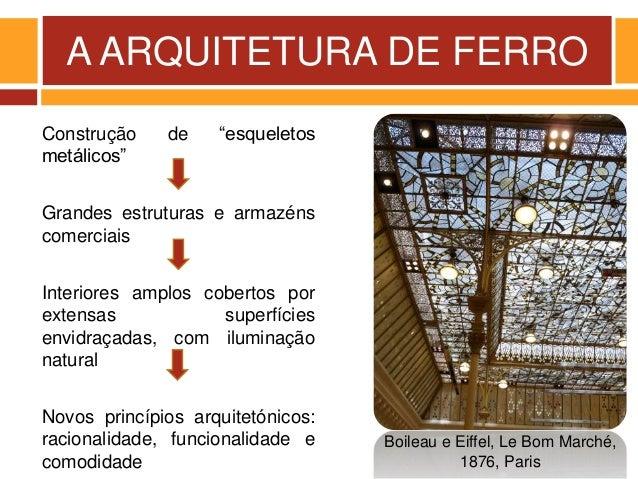 """A ARQUITETURA DE FERRO Construção de """"esqueletos metálicos"""" Grandes estruturas e armazéns comerciais Interiores amplos cob..."""