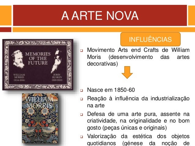 A ARTE NOVA  Movimento Arts end Crafts de William Moris (desenvolvimento das artes decorativas)  Nasce em 1850-60  Reaç...