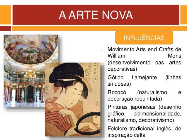 A ARTE NOVA - Movimento Arts end Crafts de William Moris (desenvolvimento das artes decorativas) - Gótico flamejante (linh...