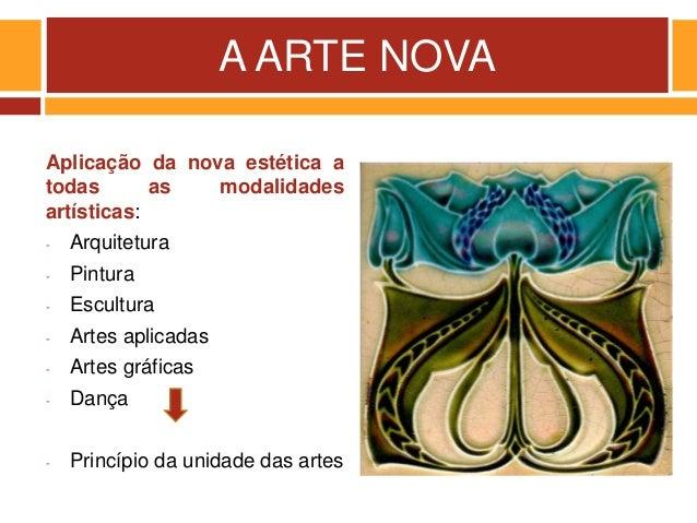 A ARTE NOVA Aplicação da nova estética a todas as modalidades artísticas: - Arquitetura - Pintura - Escultura - Artes apli...