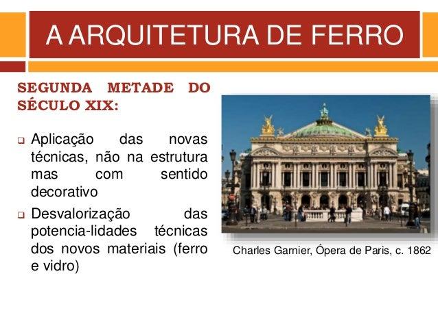 A ARQUITETURA DE FERRO SEGUNDA METADE DO SÉCULO XIX: Charles Garnier, Ópera de Paris, c. 1862  Aplicação das novas técnic...