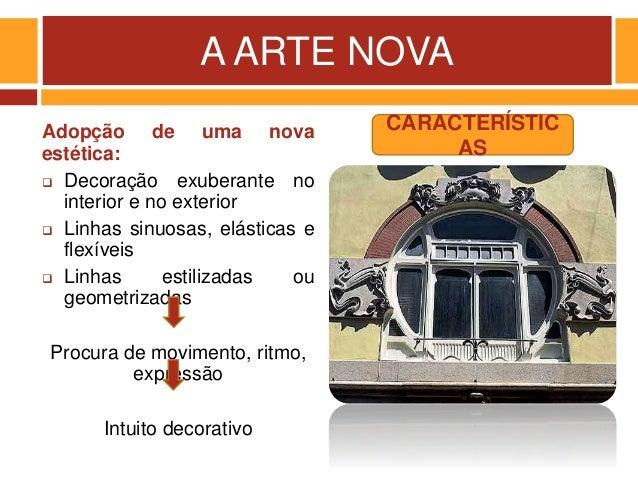 A ARTE NOVA Adopção de uma nova estética:  Decoração exuberante no interior e no exterior  Linhas sinuosas, elásticas e ...