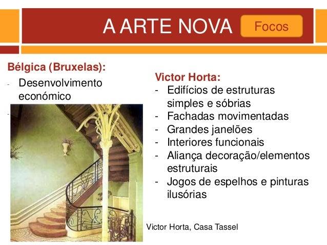 A ARTE NOVA Bélgica (Bruxelas): - Desenvolvimento económico - Mecenato de Leopoldo II Focos Victor Horta, Casa Tassel Vict...