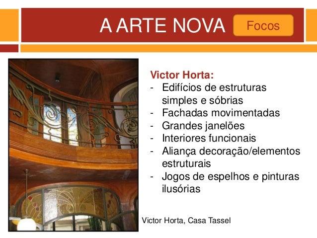 A ARTE NOVA Focos Victor Horta, Casa Tassel Victor Horta: - Edifícios de estruturas simples e sóbrias - Fachadas movimenta...