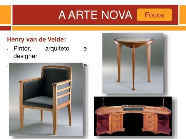 A ARTE NOVA Henry van de Velde: - Pintor, arquiteto e designer - Mobiliário formal e funcional Focos