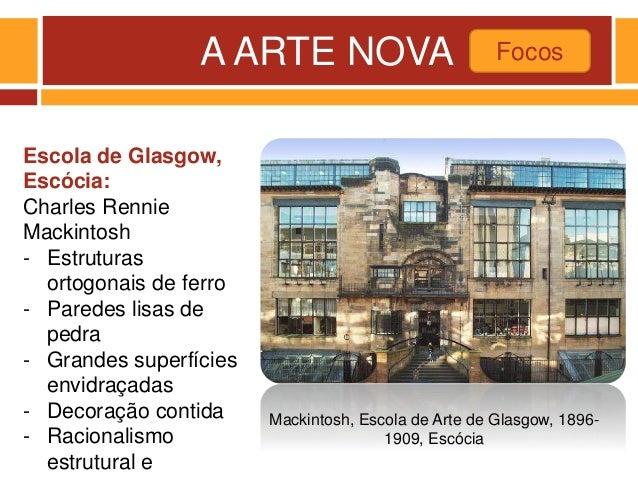 A ARTE NOVA Focos Mackintosh, Escola de Arte de Glasgow, 1896- 1909, Escócia Escola de Glasgow, Escócia: Charles Rennie Ma...