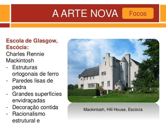 A ARTE NOVA Focos Mackintosh, Hill House, Escócia Escola de Glasgow, Escócia: Charles Rennie Mackintosh - Estruturas ortog...