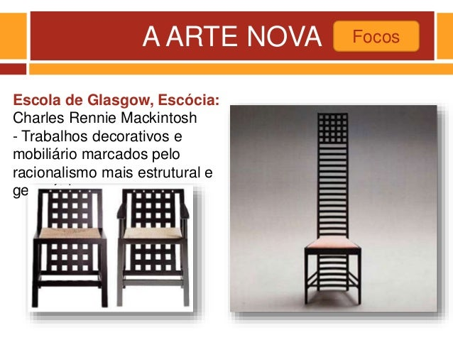 A ARTE NOVA Focos Escola de Glasgow, Escócia: Charles Rennie Mackintosh - Trabalhos decorativos e mobiliário marcados pelo...