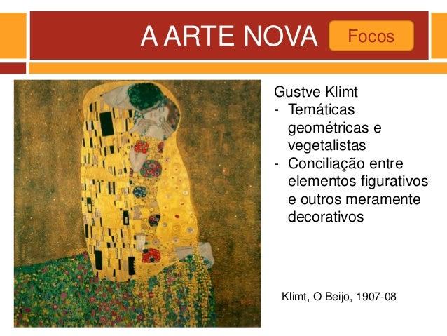 A ARTE NOVA Focos Klimt, O Beijo, 1907-08 Gustve Klimt - Temáticas geométricas e vegetalistas - Conciliação entre elemento...