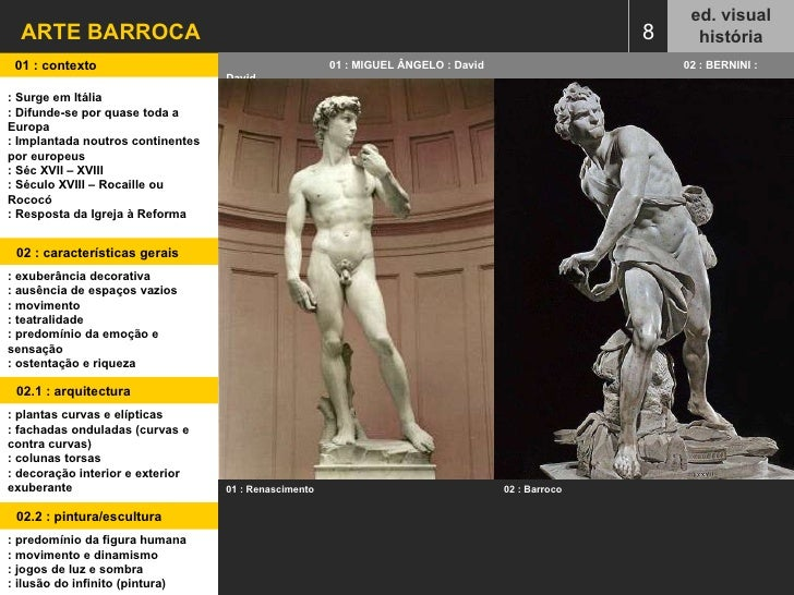 ARTE BARROCA ed. visual história 8 01 : contexto  01 : MIGUEL ÂNGELO : David   02 : BERNINI : David : Surge em Itália : Di...