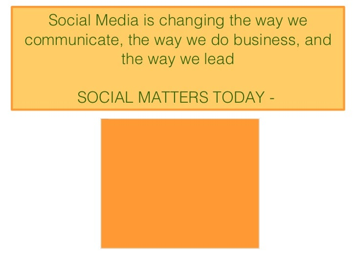 Social Media is changing the way we communicate, the way we do business, and the way we lead SOCIAL MATTERS TODAY -