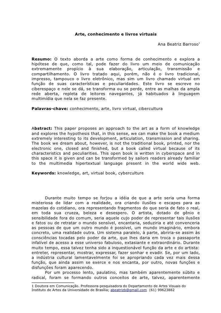 Arte, conhecimento e livros virtuais                                                                     Ana Beatriz Barro...