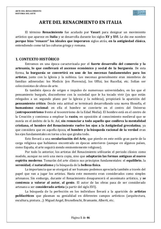 ARTE DEL RENACIMIENTOHISTORIA DEL ARTEPágina 1 de 46ARTE DEL RENACIMIENTO EN ITALIAEl término Renacimiento fue acuñado por...