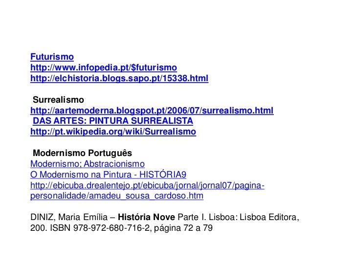 Futurismohttp://www.infopedia.pt/$futurismohttp://elchistoria.blogs.sapo.pt/15338.htmlSurrealismohttp://aartemoderna.blogs...