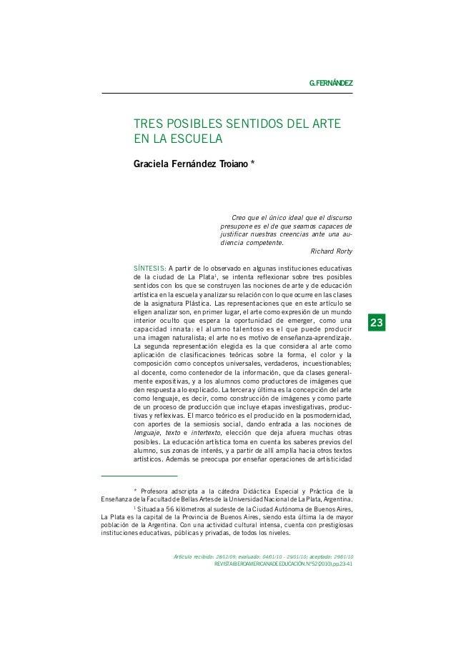 G.FERNÁNDEZ REVISTAIBEROAMERICANADEEDUCACIÓN.N.º52(2010),pp.23-41 2323 Artículo recibido: 28/12/09; evaluado: 04/01/10 - 2...