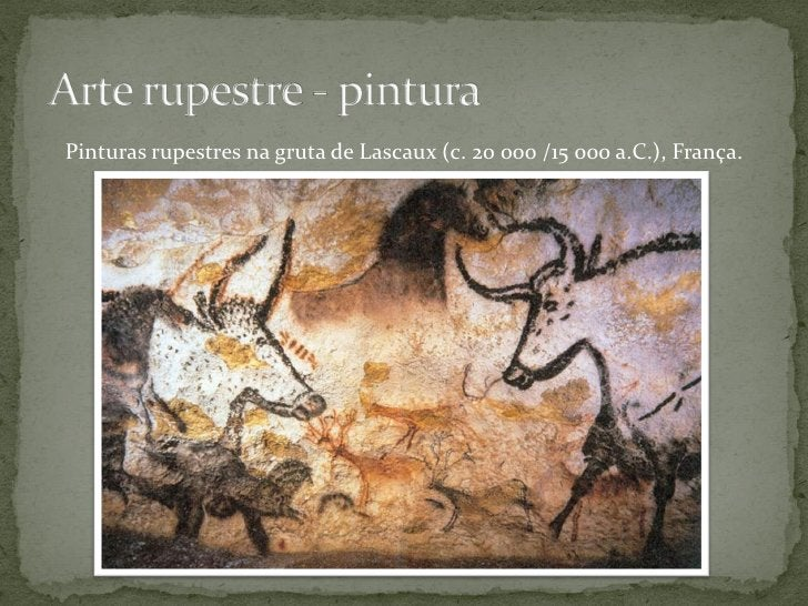 Pinturas rupestres na gruta de Lascaux (c. 20 000 /15 000 a.C.), França.          Bisonte estripado, homem caído e ave sob...