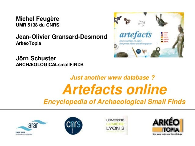 Artefacts online, Encyclopedia of archaeological small finds Slide 2