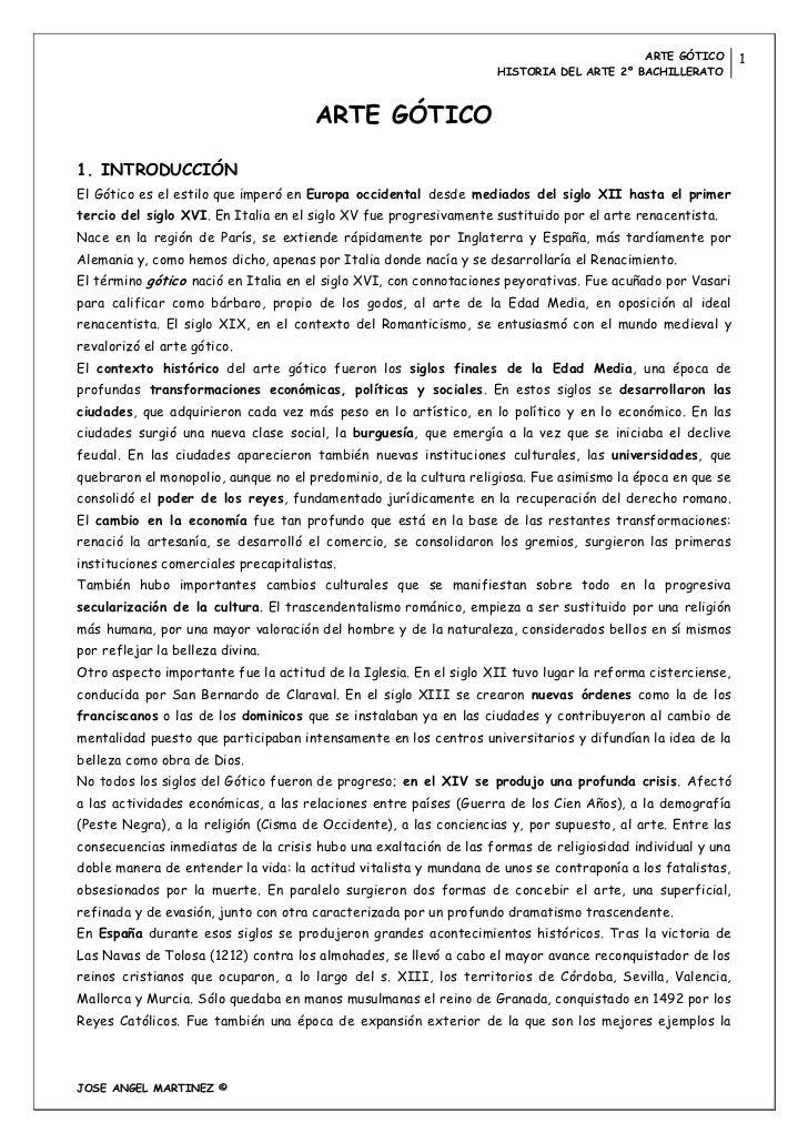 ARTE GÓTICO        1                                                                   HISTORIA DEL ARTE 2º BACHILLERATO  ...