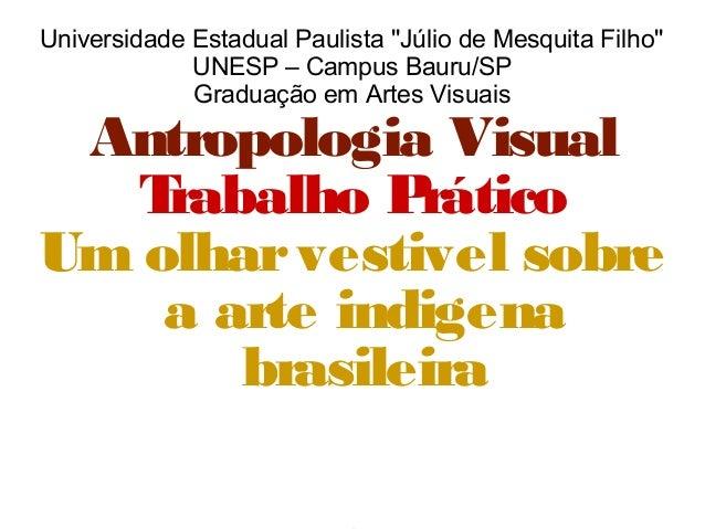 Universidade Estadual Paulista ''Júlio de Mesquita Filho'' UNESP – Campus Bauru/SP Graduação em Artes Visuais Antropologia...