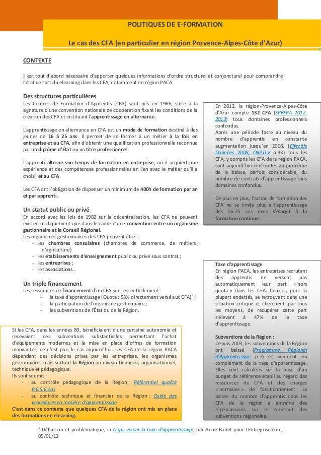POLITIQUES DE E-FORMATION                         Le cas des CFA (en particulier en région Provence-Alpes-Côte d'Azur)    ...