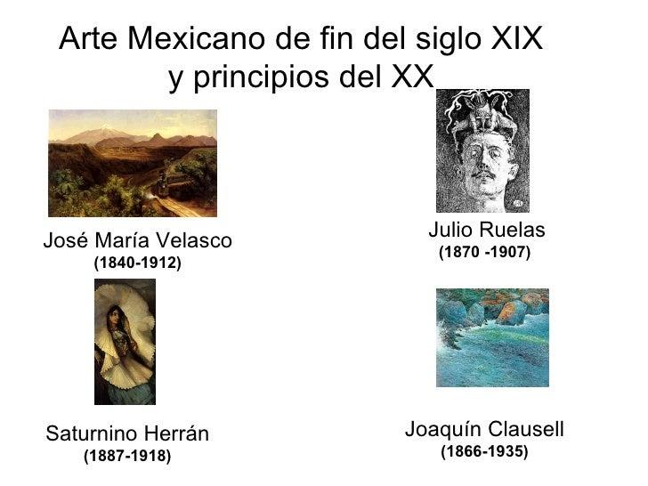 Arte Mexicano de fin del siglo XIX y principios del XX José María Velasco  (1840-1912) Julio Ruelas  (1870 -1907)  Joaquín...