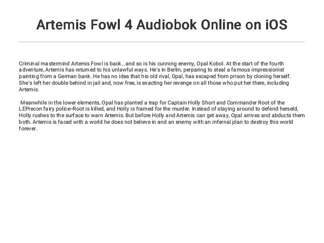 Artemis Fowl 4 Audiobok Online on iOS
