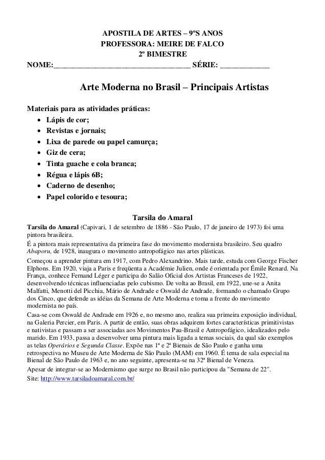 APOSTILA DE ARTES – 9ºS ANOS PROFESSORA: MEIRE DE FALCO 2º BIMESTRE NOME:____________________________________ SÉRIE: _____...
